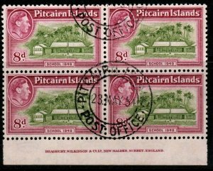 PITCAIRN ISLANDS SG6a 1951 8d OLIVE-GREEN & MAGENTA BLOCK OF 4 FINE USED