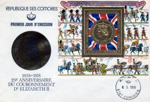 Comoro 1978 Mi.#Block 147A Queen Elizabeth Gold Medal SS Gold FDC