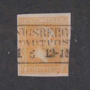 Prussia Sc 13 used 1858 3sg orange King, F-VF