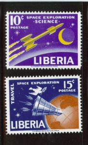 LIBERIA Scott 408-9 MNH** 1963 space rocket stamp set