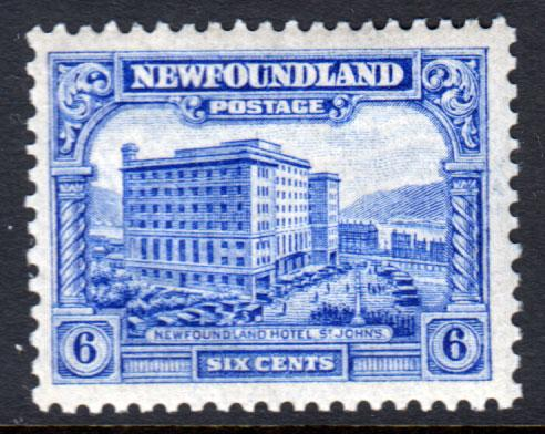 Newfoundland GV 1928 6c Ultramarine SG169 Mint Lightly Hinged MLH