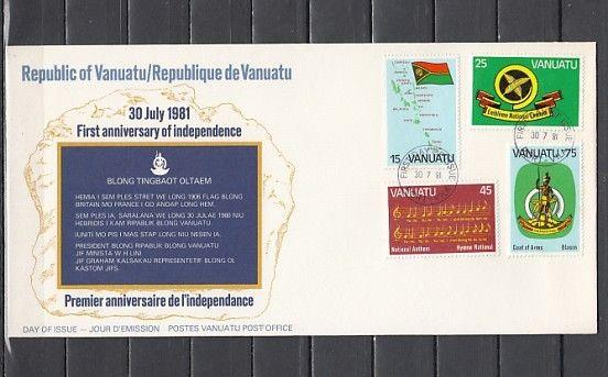 Vanuatu, Scott cat. 311-314. Independence issue with Anthem. First day cover.