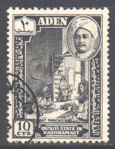 Aden Hadhramaut Scott 30 - SG30, 1955 Sultan 10c used