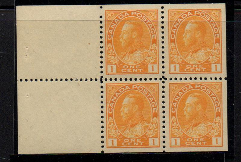 Canada Sc 105a 1922 1c yel G V Admiral stamp bklt pane of 4