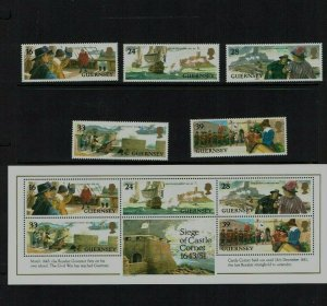 Guernsey: 1993, 350th Anniversary of Seige of Castle Cornet, MNH set + M/sheet