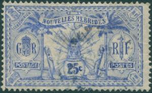 New Hebrides French 1911 SGF14 25c ultramarine Weapons Idols FU