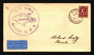 Jamaica 1930 First Flight Cover to Miami - Z17852