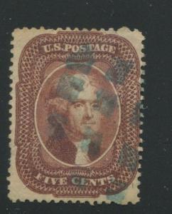 1857 US Stamp #28 5c type I Genuine Used Blue Cancel Catalogue Value $1090