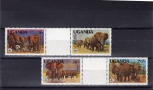 Uganda 1990 WWF Elephants Set 4 perforated inter-paneau se-tenant gutter-pairs