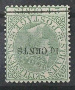 Malaya Straits Settlements 1891 QV 10c surch 24c Watermark INVERTED MLH SG#86w