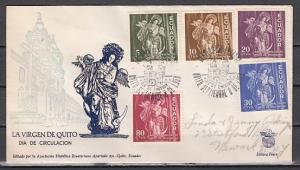 Ecuador, Scott cat. 651-655. Virgin of Quito issue on a First day cover.