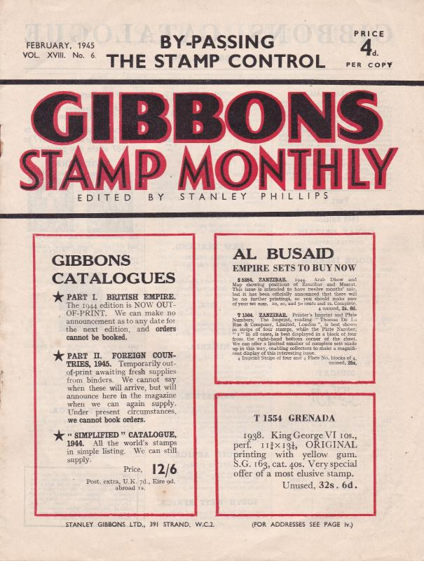 Gibbons Stamp Monthly February 1945 Very Good Condition No Tears All Pages