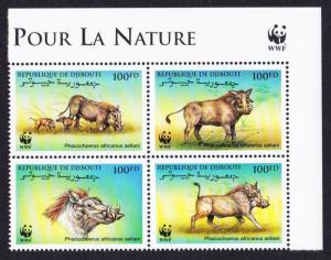 Djibouti WWF Eritrean Warthog 4v Upper Right block 2*2 with WWF Logo