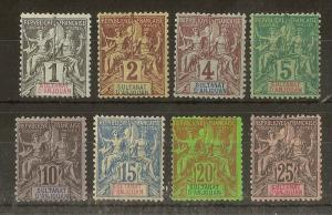 Anjouan 1892 Mint Range SG1-8 Cat£77 (8v)