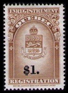 SALE QUEBEC REVENUE RARE 1962 $1. #QR34 VF MNG NH REGISTRATION STAMP CV $15