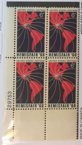 US #1340 PB (MNHOG) [Plate Block Mint No Hinge Original Gum] Hemisfair 1968