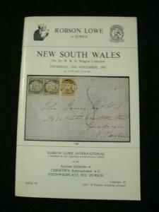 ROBSON LOWE AUCTION CATALOGUE 1981 'DR W R D WIGGINS' NEW SOUTH WALES