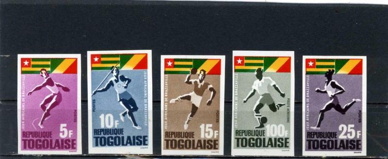 TOGO 1965 Sc#525-528,C46 SPORTS SET OF 5 STAMPS IMPERF. MNH