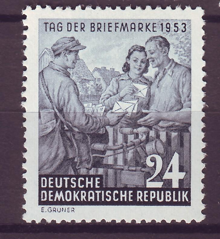 J14697 JLstamps 1953 germany DDR set of 1 mh #178, mail delivery