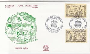 France 1989 Principat D'Andorra CEPT Cancels Europa Stamps FDC Cover Ref 31642