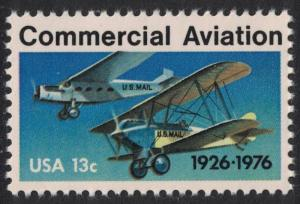 Scott 1684- Commercial Aviation, Monoplane and Biplane- MNH 1976- 13c mint stamp