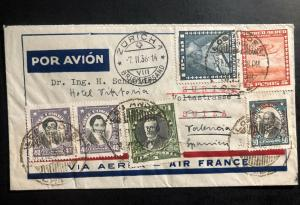 1936 Los Andes Chile Airmail Cover to Valencia spain