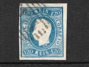 PORTUGAL 1866 120r BLUE IMPERF  FU Sc 24
