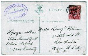 Z600 1909 JLstamps 1909 postcard australia queensland railroad station to mass