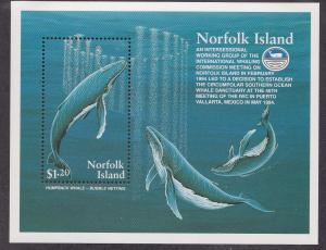 Norfolk Island # 576, Humpback Whales, Souvenir Sheet, NH 1/2 Cat.