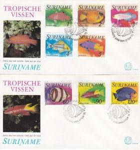 Suriname # 471-475, C72-74, Tropical Fish on 2 First Day Covers