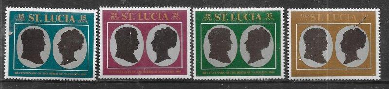 St Lucia #253-256 Napolean & Josephine' (MLH) CV$1.00
