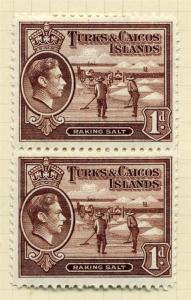 TURKS & CAICOS;  1938 early GVI issue fine Mint hinged 1d. PAIR ( Base MNH )