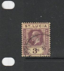 St Lucia 1921/30 Script CA 3d used SG 100/a