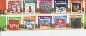 2019 Isle of Man Christmas Cards (10)  (Scott NA) MNH