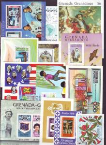 Z369 JLstamps 36 all dif grenada grenadines s/s mnh lot, 3 scans noted 1 mh#