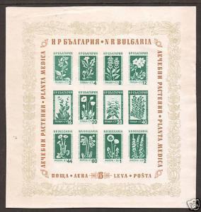 Bulgaria Sc 843a MNH. 1953 Medicinal Flowers Souvenir Sheet, tiny faults