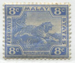 Malaya Federated States 1909 8 cents Tiger ultra mint o.g.