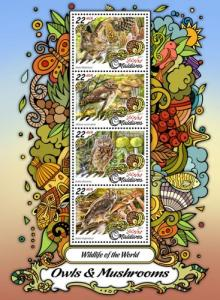 MALDIVES - 2017 - Wildlife of the World : Owls, Mushrooms - Perf 4v Sheet - MNH