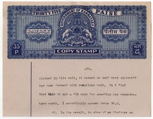 (I.B) India (Princely States) Revenue : Karnataka Stamped Paper 35p