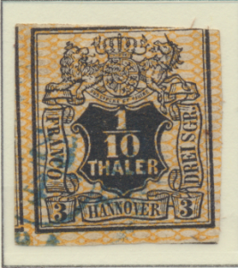 Hanover (German State) Stamp Scott #8, Used, Three Large Margins - Free U.S. ...