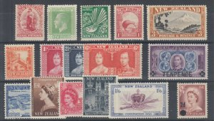 New Zealand Sc 108/319 MLH. 1902-58 issues, 16 different better singles, F-VF.