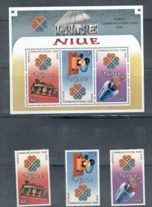 Niue Sc 414-16, 416a 1984 Communications Year stamp set & Sheet mint NH