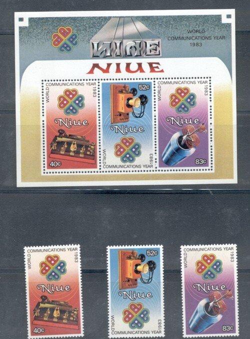 Niue Sc 414-16, 416a 1984 Communications Year stamp set & Sheet mint NH