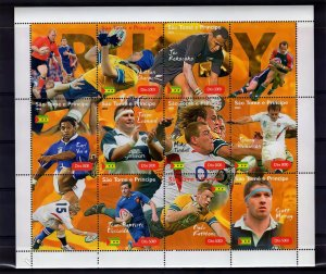 Sao Tome and Principe  2004 Rugby Players Sheetlet Perforated (9+3L) MNH