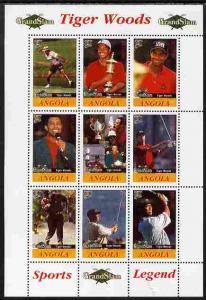 Angola 2009 Golf Grand Slam - Tiger Woods #1 perf sheetle...