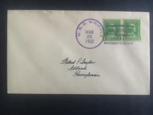 1932 US Navy Post Office Nanking China Cover to USA USS Whipple