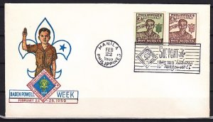 Philippines, 22/FEB/59. Lord Baden Powell Cachet on Scout Cover. ^