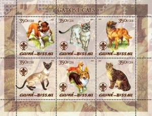 GUINEA BISSAU 2005 SHEET CATS DOGS