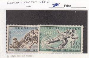 J26094  jlstamps 1960 czechoslovakia set mnh #965-6 sports 1 signed ,all checked