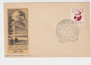 Poland 1957 100 Years of Study in Wielkopolsce Emblem FDC Stamp Cover Ref 23032